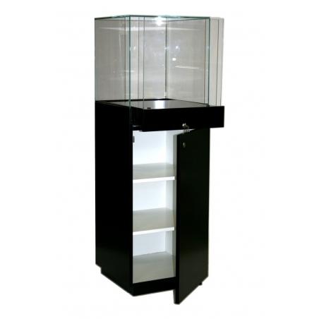 socle vitrine noir, 47 x 45 x 145 cm (lxLxh) avec couvercle en verre, 45 x 45 x 45 cm