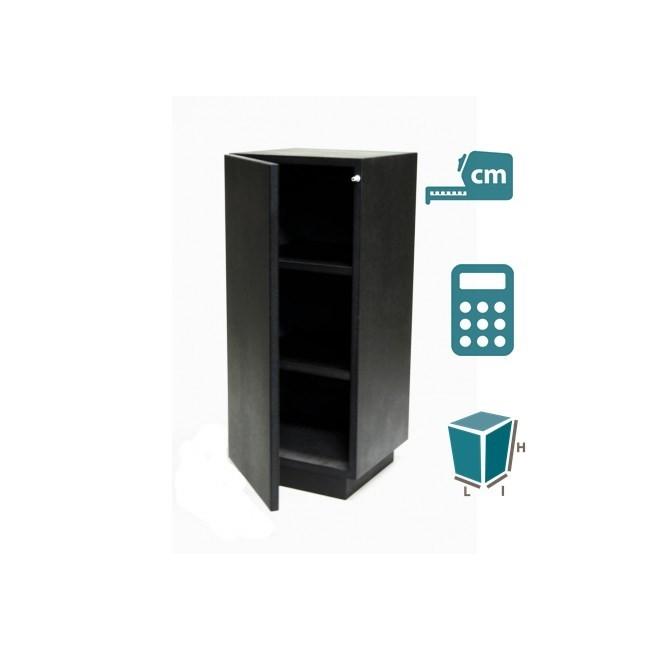 socle armoire noir brillant (porte et etagères), sur mesure